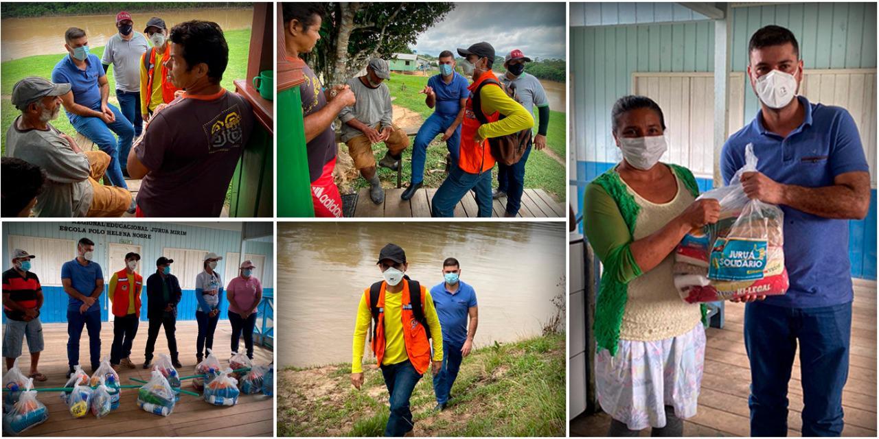 Nicolau Júnior faz visita à comunidade no Rio Juruá Mirim atingida pela enchente